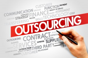 Outsourcing related items words cloud, business concept